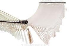Hammock Heaven - Luxury Spreader Bar Mexican Hammock: Cotton Off White