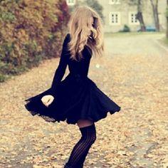 Cute fall dress with knee-high socks/tights!