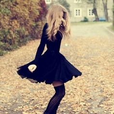Cute fall dress with knee-high socks/tights!