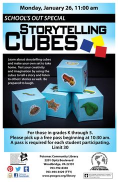 Library Graphic Design - Storytelling Cubes program at Potomac. Cubes, To Tell, Make Your Own, Storytelling, Graphic Design, Learning, Studying, Teaching, Visual Communication