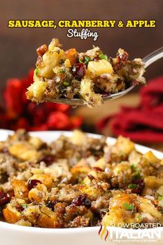 The Best Stuffing Recipe Ever starts with sausage, cranberry and apple. Herbs and spices are added in but the real magic happens as the pan is deglazed with a the most glorious combination of liquids and those bits are scraped up creating the most magnifi