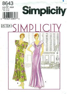 Simplicity 8643 Retro Simplicity 1930s BIAS by PatternPeddler, $17.99
