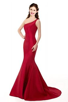 ColorDress Womens Elegant One Shoulder Prom Dresses Wedding Party Long Formal Dresses Size8 Burgundy ** Click image to review more details.