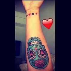 Awesome Blue sugar skull with heart and roses symbol
