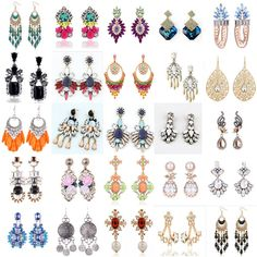 1 Pair Elegant Women Fashion Rhinestone Ear Stud Earrings Crystal Chain #Unbrand #Fashion
