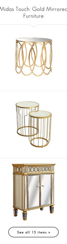 """""""Midas Touch: Gold Mirrored Furniture"""" by polyvore-editorial ❤ liked on Polyvore featuring goldmirroredfurniture, home, furniture, tables, accent tables, mirror accent table, mirrored glass furniture, gold accent table, gold end table and gold furniture"""