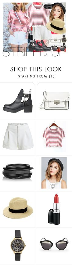 """""""STRIPED UP!"""" by wayfaring ❤ liked on Polyvore featuring Marc by Marc Jacobs, Kenneth Jay Lane, Wet Seal, MAC Cosmetics, Olivia Burton and D-ID"""