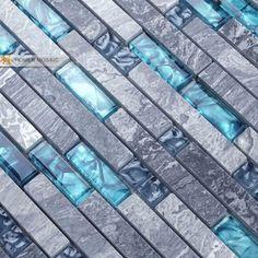 Blue Glass Shower Tile crackle glass stone glass mosaic backsplash tile kitchen bathroom