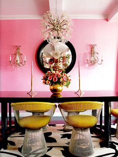 Pink-And-Gold-Dining-Room-by-Betsey-Johnson http://homeautodesign.com/2012/07/modern-colorful-pastel-interior-design-with-desserts-inspiration/