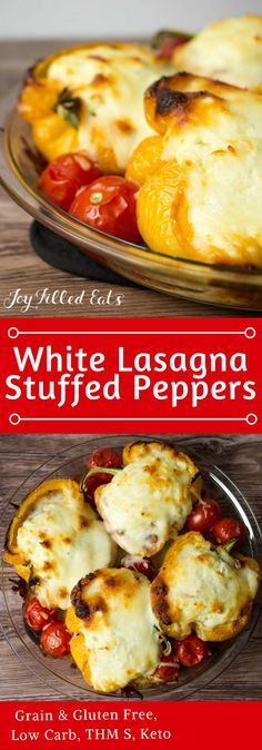 White Lasagna Stuffed Peppers - Low Carb, Grain Gluten Free, THM S - These White Lasagna Stuffed Peppers take an easy dinner staple to a whole new level. With only 5 ingredients and a very simple preparation, they are a great dinner for a busy night.