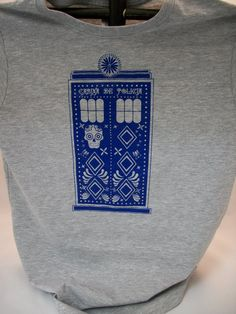 Sugar Skull Police Box Ladies Fitted Tee Heather Gray by Geekiana on etsy-- Very Cool