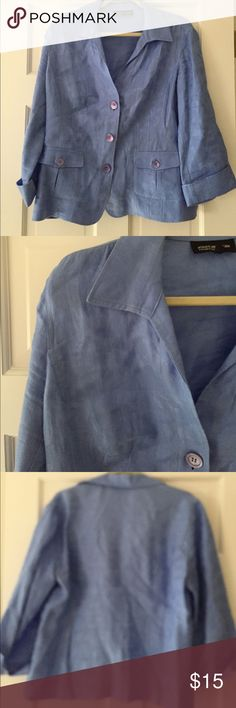 """Linen jacket Really pretty cornflower blue jacquard linen jacket. Unlined, cool and polished. Wear buttoned or open. Cuffed sleeves. 23"""" bust, 23"""" length, 19"""" sleeves. Jones New York Jackets & Coats"""