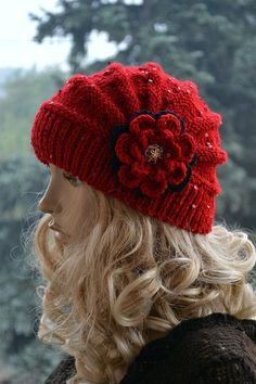 Knitted cap in flower cap / hat lovely warm autumn by DosiakStyle Knitting Kits, Knitting Yarn, Free Knitting, Knitting Patterns, Crochet Patterns, Crochet Beanie, Knitted Hats, Knit Crochet, Fall Accessories