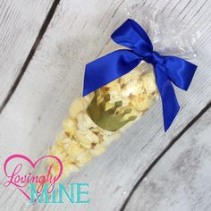 Popcorn Favor Bag Kits - Gold Foil Crown with Royal Blue Satin Bow - Baby…