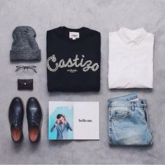 fall flat lay from Instagram - graphic tee, light denim, beanie