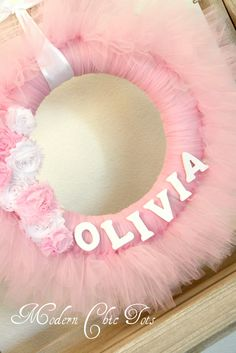 Pink Tutu Wreath with Name...cute but done in party theme colors