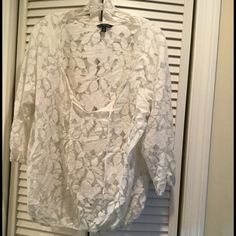 American Eagle Outfitters Tops - American Eagle white lace top (size XL)