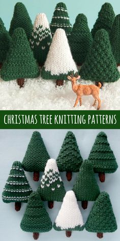 Cute little trees you can knit up quick for the holidays. Pattern download. #diy #knitting #knit #christmas #ornament #gift #afflink #etsy