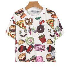 Aliexpress.com: Comprar 2015 nuevo de moda de dibujos animados de comida rápida hamburguesa imprimir camiseta pantalones cortos hombre de manga top crocs ocasionales flojos camisetas femeninas entrega gratuita de Camisetas fiable proveedores en ROGG HOME