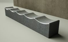 Chris Nangle Furniture: Granite textured and egg shell finish ripple top bench 1 of 2
