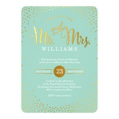 MODERN STYLISH WEDDING invitation featuring faux gold confetti and script font on a mint green background. Elegant and chic!
