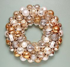 Christmas Ornament Wreath Silver Gold and White by judyblank, $299.00