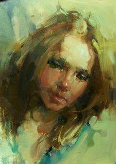 """Pensive"" Kim Roberti 5x7 Contemporary-Realism Oil Figure/Portait of a young woman. -- Kim Roberti"