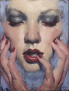 """Sea of Blue"" - Malcolm T. Liepke (b. 1953), oil on canvas {figurative #impressionist art beautiful female head hands woman face portrait painting}"