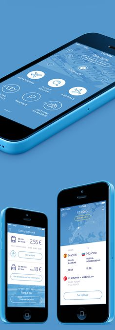 Barajas Airport app quick concept by Kostya Averyanov, via Behance