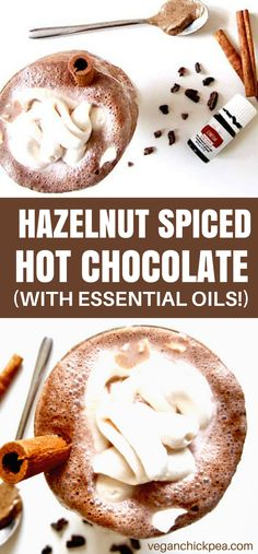 This warming Hazelnut Spiced Hot Chocolate recipe uses hazelnut butter with cinnamon + nutmeg essential oils to create a creamy and healthy treat!