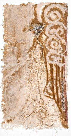 """Femina I: LANDSCAPE 2010 Mixed Media Handmade Raw Silk / Abaca Paper, embedded with antique lace, textiles / threads, 18""""W X 35""""H"""