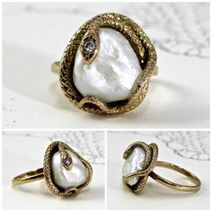 Antique snake ring in yellow gold with a large baroque pearl. Art Nouveau, at The Eden Collective.