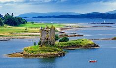 Château de Stalker, Scotland. Scotland is a country that is part of the United Kingdom. Occupying the northern third of the island of Great Britain, it shares a border with England to the south and is bounded by the North Sea to the east, the Atlantic Ocean to the north and west, and the North Channel and Irish Sea to the southwest. In addition to the mainland, Scotland constitutes over 790 islands including the Northern Isles and the Hebrides.