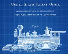 Vintage 1930s train blueprint art art restoration hardware baby locomotive headlight patent vintage locomotive by patentsasprints malvernweather Choice Image