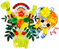 """新年の挨拶年賀状などお正月用にも使えるフリーのイラスト素材お洒落な着物の女の子  Free Illustration for New year """"The stylish girls in Kimono(Japanese style cloth)   http://ift.tt/2gXWsPo"""