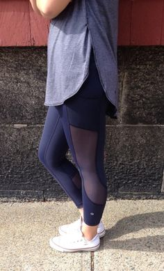 dacd24e17 Love these navy lululemon leggings. The mesh detail cut outs on the side  are amazing! Way to show off the leg and booty gains from my new home  workout ...