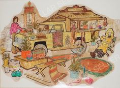 ORIGINAL 1974 SUNSHINE FAMILY DOLL TRUCK w/ CRAFT SHACK CONCEPT ART! Vintage