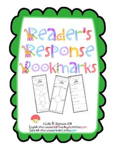 Reader's Response Bookmarks. Includes a reading log bookmark, 40 reader's response bookmarks and 10 bookmarks that focus on vocabulary development. $7