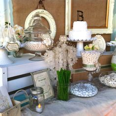 Wedding Theme: Vintage Candy Table (burlap, crates, white) by True Confections