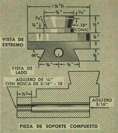 www.eltallerderolando.com 2015 04 30 torno-para-metalista-abril-1965 Homemade Lathe, Lathe Parts, Diy Lathe, Machine Tools, Cnc, Workshop, Cool Stuff, Hand Tools, Wooden Gears