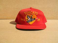 Vintage Snapback Mesh Trucker Hat Red Embroidered Cap