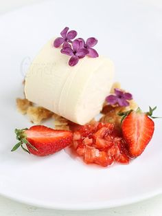 Lilac Parfait with Lilac Syrup marinated Strawberries on Crispy Almonds