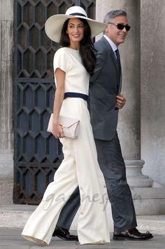 Amal Alamuddin en su boda civil con George Clooney de Stella Mccartney. Septiembre de 2014