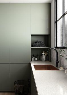 Slate Kitchen, Green Kitchen, Interior Desing, Interior Design Inspiration, Laundry Design, Minimalist Kitchen, Cuisines Design, Modern Kitchen Design, Kitchen Designs