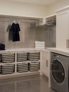 40 Inspiring Laundry Room Design Ideas that Will Make You Impressed modern farmhouse laundry room with laundry room organization, laundry room storage, neutral laundry room with open shelves Laundry Room Tile, Tiny Laundry Rooms, Laundry Room Remodel, Laundry Room Cabinets, Laundry Room Organization, Diy Cabinets, Basement Laundry, Laundry Room Makeovers, Laundry Room Shelving