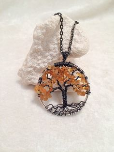 Baltic Amber Tree of Life Necklace Pendant with Brown Artistic Wire Trunk on Silver Chain Wire Wrapped Semi Precious Gemstone Jewelry
