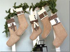 tartan plaid and burlap christmas stockings