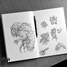 Monstrous cockroach, character design, dark art, sketchbook art, death metal, black metal, deathcore, drawings