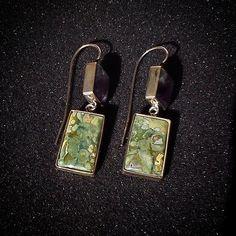 Argento 925 ametista e rayolite orecchini di oreficeriAlternativa