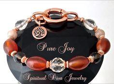 Pure Joy Positive Energy Healing Crystal Copper Reiki Charm Bracelet